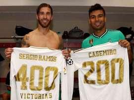 Ramos chega a 400 vitórias e Casemiro soma 200 jogos. Twitter/Casemiro