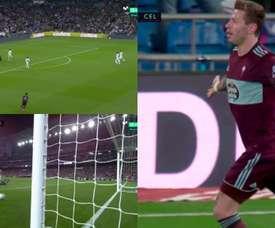 Smolov crée la surprise au Bernabéu et ouvre son compteur avec le Celta. Capture/MovistarLaLiga