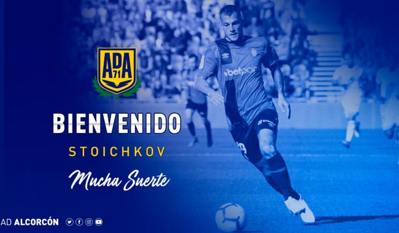 Stoichkov, cedido al Alcorcón. Twitter/AD_Alcorcon