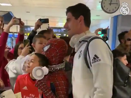 Courtois and Spiderman. Screenshot/realmadrid