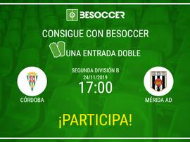 Consigue una entrada doble para el Córdoba-Mérida. BeSoccer