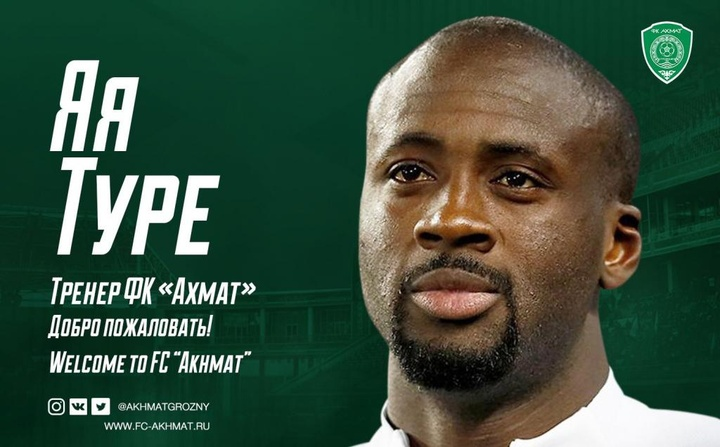 Yayá Touré firmó con el Akhmat Grozny como segundo entrenador. Twitter/Akhmatgrozny