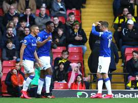 Yerry Mina suit toujours les matches du Barça. Twitter/Everton