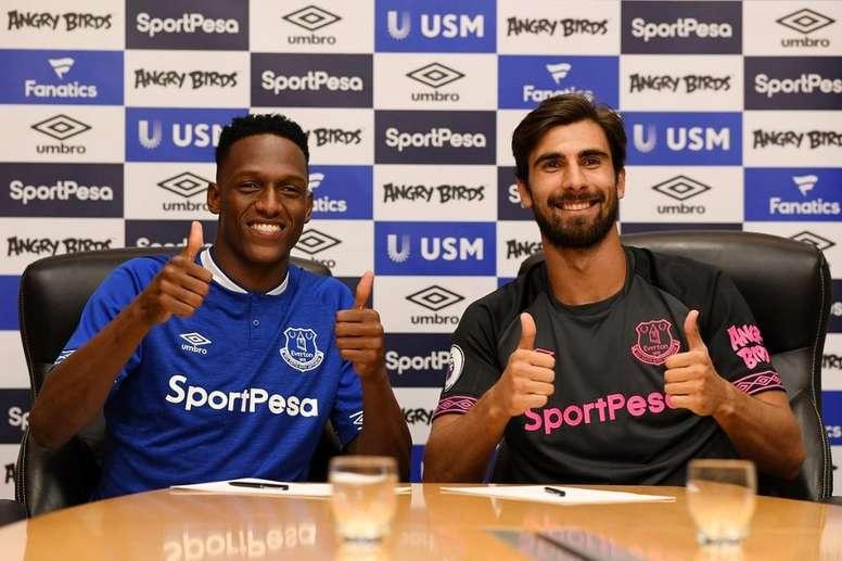El Everton hizo oficial la llegada de Mina y André Gomes. Everton