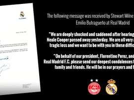 La carta fue firmada por Butragueño. Aberdeen