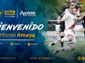 Amaya firmó por una temporada. Twitter/UCAMMurciaCF