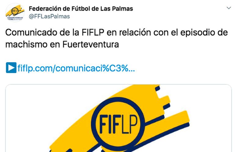 Una árbitra de 16 años sufrió comentarios machistas en Fuerteventura. Twitter/FFLasPalmas