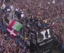 Juve paraded through the streets of Turin. Twitter/AleRoversi