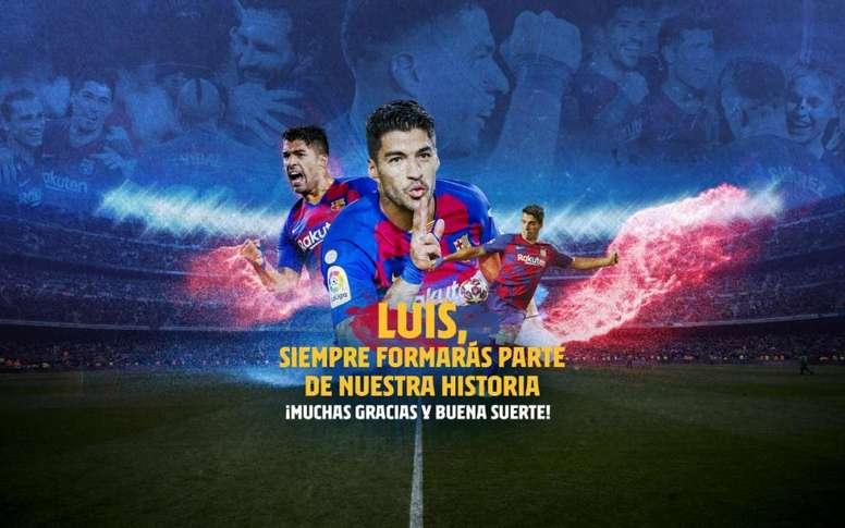 El Barça homenajeó a Luis Suárez en Twitter. FCBarcelona