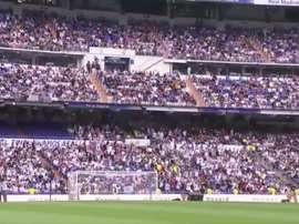 Le Bernabéu, presque aussi plein pour Hazard que pour Cristiano. Capture/RealMadridTV
