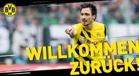 Hummels regresa al Borussia Dortmund tras tres años en el Bayern. BVB