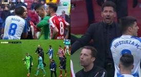 El Atlético-Leganés se caldeó demasiado al final. Captura/MovistarLaLiga