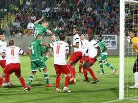 Imagen del choque entre el Milsami y el Ludogorets. Prosport
