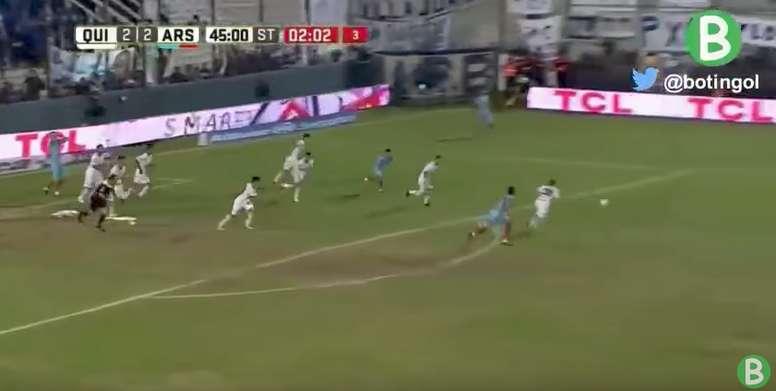 El encuentro entre Arsenal y Quilmes finalizó con un 2-2. Youtube