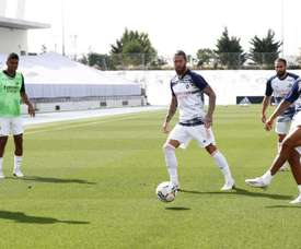 Real Madrid train ahead of the match. Twitter/RealMadrid