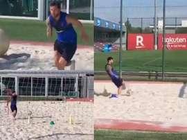 Messi a réalisé un entraînement intensif sur le sable. Twitter/OTRO