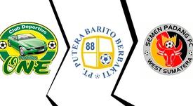 Imagen del escudo del Parrillas One, el Barito Putera y el Semen Padang. DC