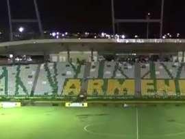 Las lluvias mermaron el sistema de iluminación del estadio Centenario de Armenia. Youtube