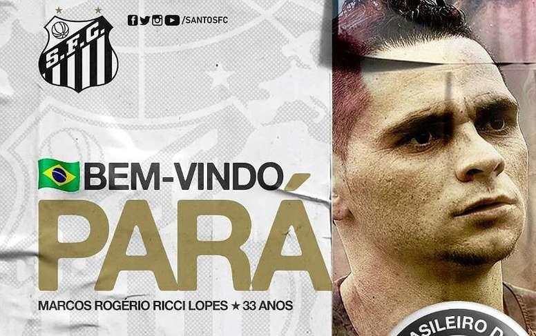Santos oficializó el regreso de Pará. Twitter/SantosFC