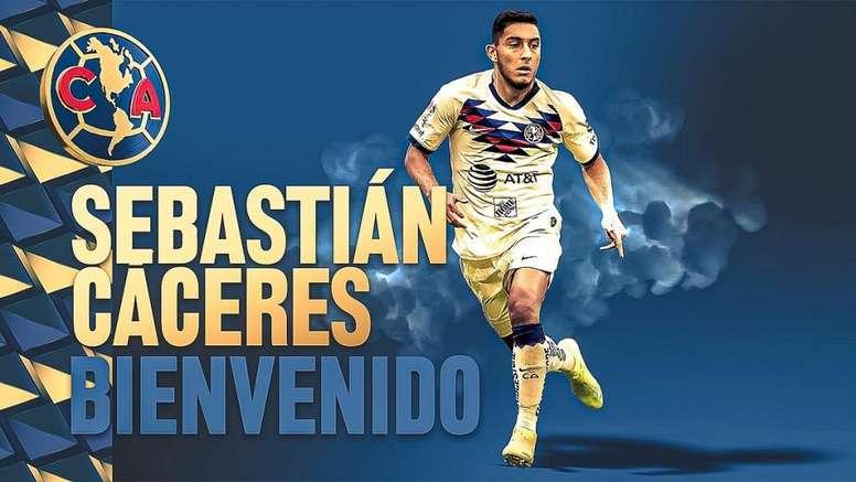Sebastián Cáceres, nuevo fichaje del América. ClubAmérica