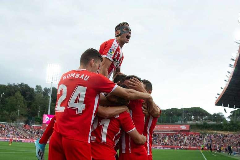 El Girona espera batir a un Las Palmas reforzado tras la última victoria. Twitter/GironaFC
