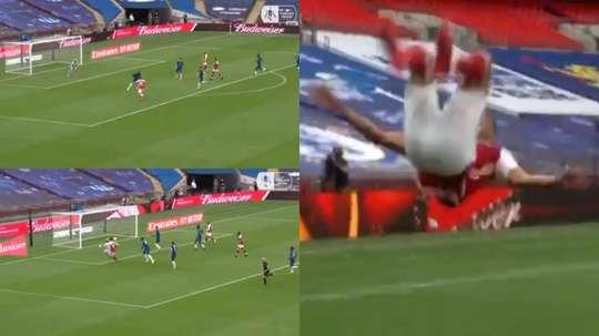 Aubameyang volteó el resultado en el Arsenal-Chelsea. Captura/EmiratesFACup