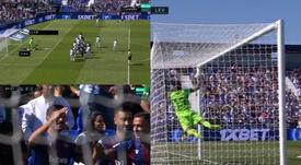 Campaña sorprendió a Soriano y dejó helado Butarque en el 0-2. Captura/Movistar+