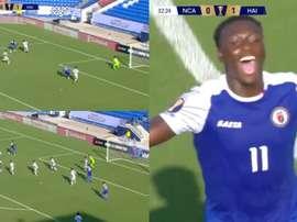 Etienne anotó el segundo gol de Haití. Captura/GoldCup