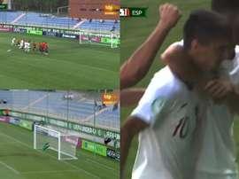Vieira empató el partido ante España. Captura/Teledeporte