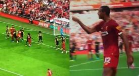 Matip adelantó al Liverpool frente al Arsenal. Captura/SkySports