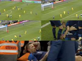 Kucka si infortuna al momento del tiro. Captura/Voetbal