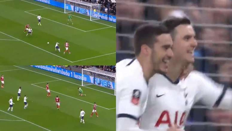 Lo Celso adelantó al Tottenham ante el Middlesbrough. Captura/EmiratesFACup