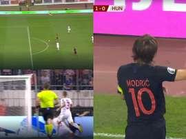 Modric drew first blood for Croatia against Hungary. Captura/UEFA