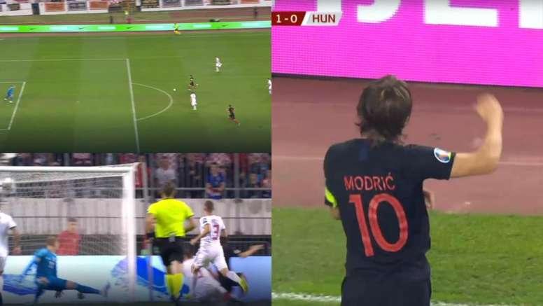 Sprint et définition pour le but de Modric avec la Croatie. UEFA