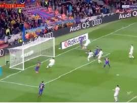 Piqué a marqué le deuxième pour le Barça. Twitter/Captura