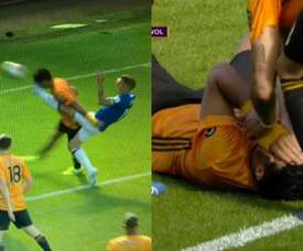 Raul Jimenez got kicked in the face whilst equalising for Wolves. Captura/DAZN