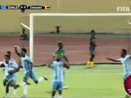 La Somalie écrit son histoire avec une victoire contre le Zimbabwe. Captura/FIFATV