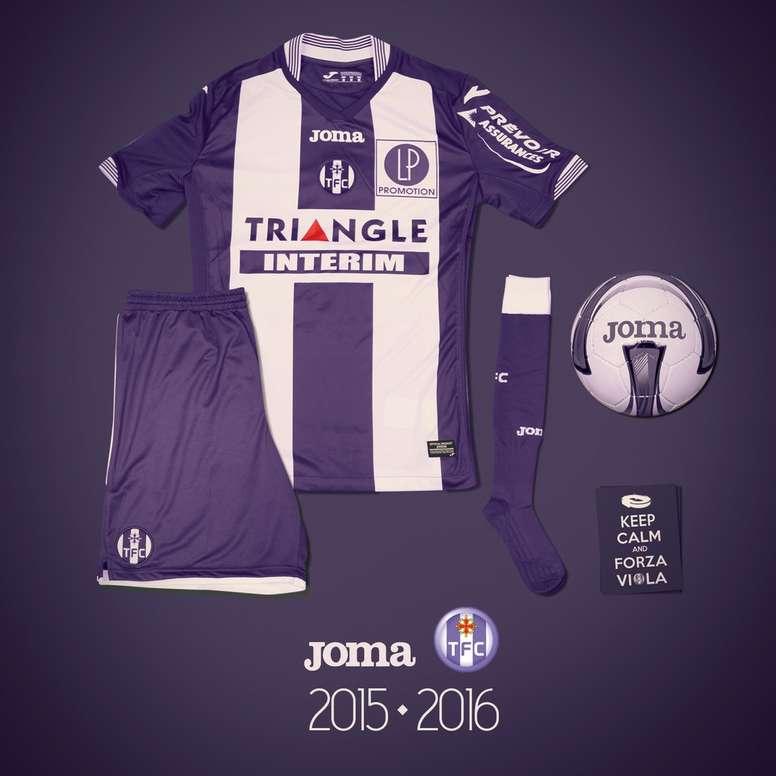 Imagen del kit de local del Toulouse para la 2015-16.