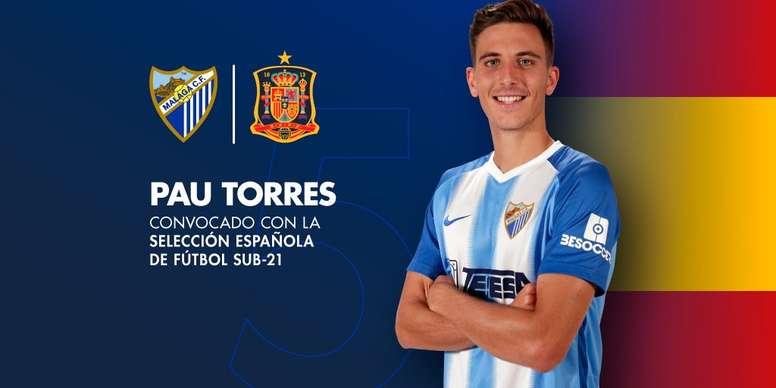 La Sub 21 puede dejar a Pau Torres sin el 'play off' de ascenso a Primera. Twitter/MalagaCF