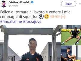 A mensagem de Cristiano aos adeptos da Juventus. Twitter/Cristiano