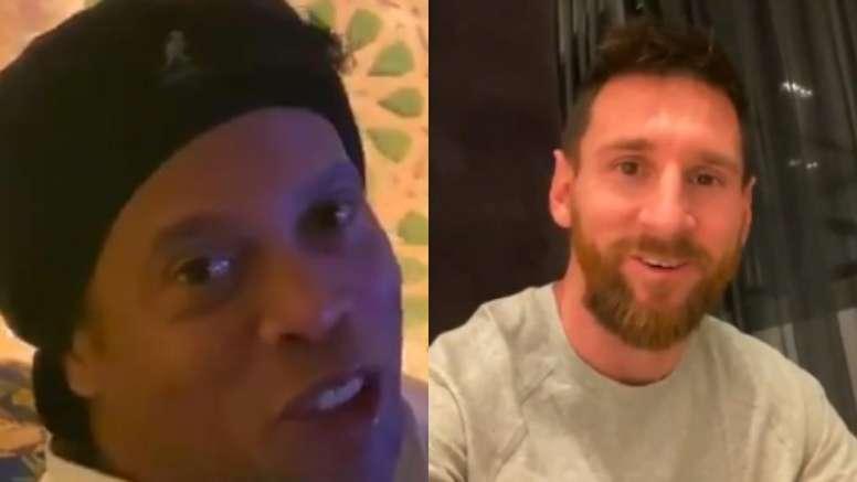As palavras de Ronaldinho desde a Arábia com Messi. /Captura/Turki_alalshikh