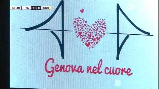 'Genova nel cuore' rezaba el videomarcador. Captura/Rai