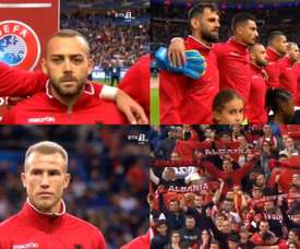 Awkward scenes as Andorra's anthem played instead of Albania's. Screenshot/RTK1