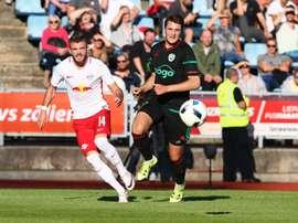 Imagen del partido entre el Liepajas y el Red Bull Salzburgo, en el que los austriacos han logrado la victoria por 0-2. RedBullSalzburg
