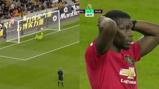 Pogba échoue sur penalty et manque le but de la victoire. Captura/DAZN