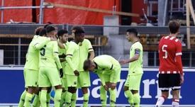 El Barcelona empató a un tanto frente al PSV. FCBMasia