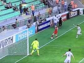 Imagen del segundo gol de Moldavia ante Georgia. Twitter