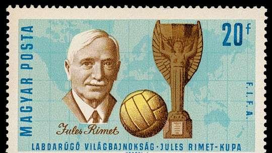 Imagen del sello creado en honor a Jules Rimet, fundador del Mundial de Fútbol y ex presidente de la