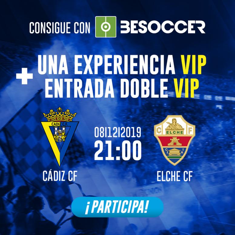 Consigue una experiencia VIP y una entrada doble VIP para el Cádiz-Elche. BeSoccer