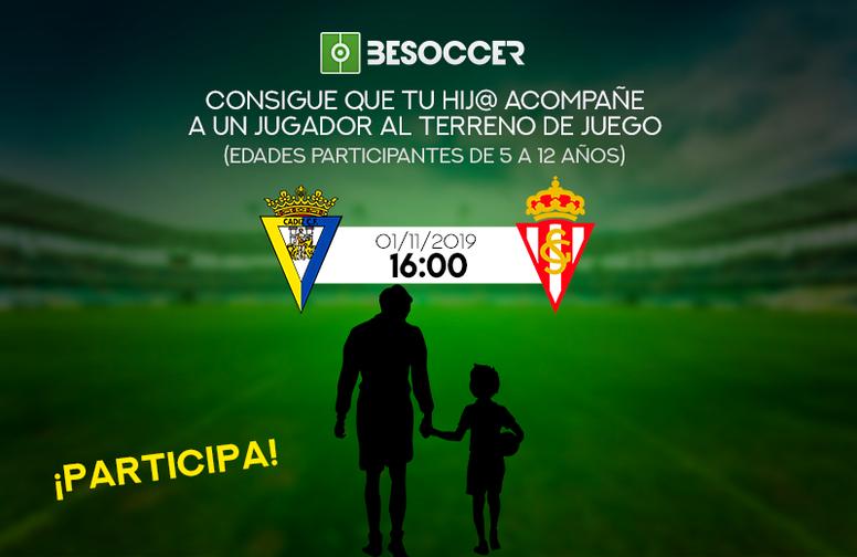 Consigue que tu hijo acompañe a un jugador en el Cádiz-Sporting. BeSoccer